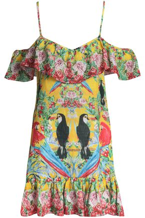 CAMILLA Cold-shoulder embellished printed linen mini dress