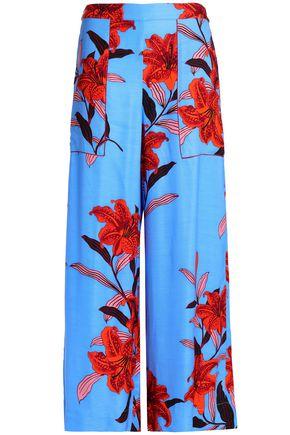 DIANE VON FURSTENBERG Floral-print twill wide-leg pants