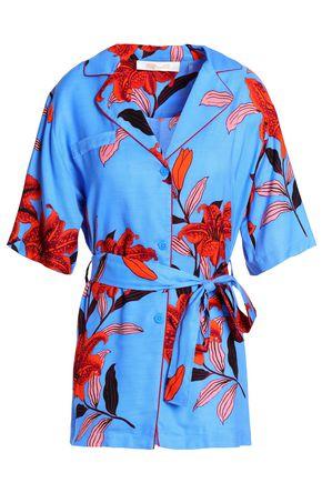 DIANE VON FURSTENBERG Belted floral-print twill shirt