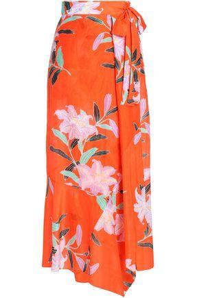 DIANE VON FURSTENBERG Belted printed cotton and silk-blend maxi skirt