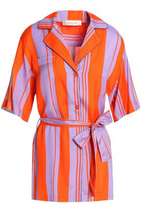 DIANE VON FURSTENBERG Bow-detailed striped silk-blend shirt