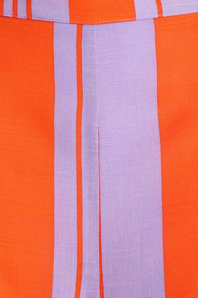 DIANE VON FURSTENBERG Striped silk-blend wide-leg pants