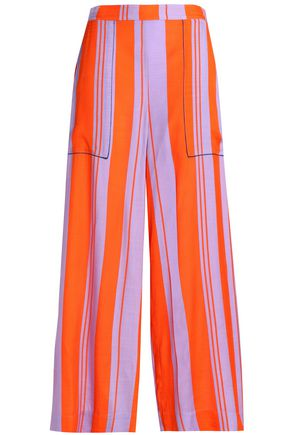 DIANE VON FURSTENBERG Striped silk-blend wide-leg pants
