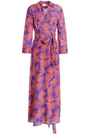DIANE VON FURSTENBERG Printed cotton and silk-blend voile midi wrap dress