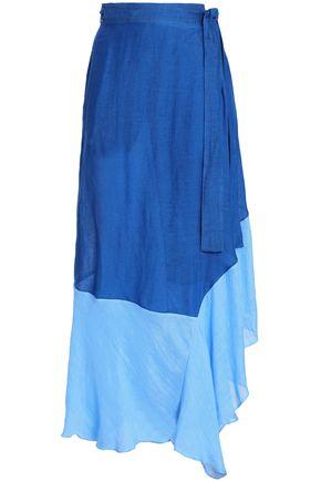 DIANE VON FURSTENBERG Belted two-tone linen-blend gauze maxi skirt