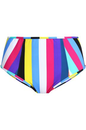 DIANE VON FURSTENBERG Striped high-rise bikini briefs