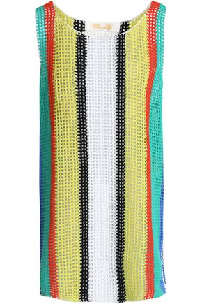 DIANE VON FURSTENBERG Striped crochet-knit coverup