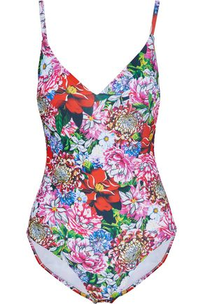 MARY KATRANTZOU Paint By Numbers floral-print swimsuit