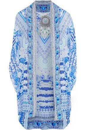 CAMILLA Throwing Shade embellished printed silk kaftan