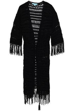 MELISSA ODABASH Fringed crochet-knit coverup