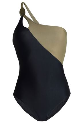 CALVIN KLEIN One-shoulder two-tone swimsuit