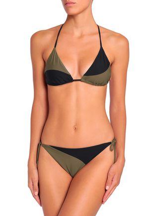 CALVIN KLEIN Two-tone mid-rise bikini briefs