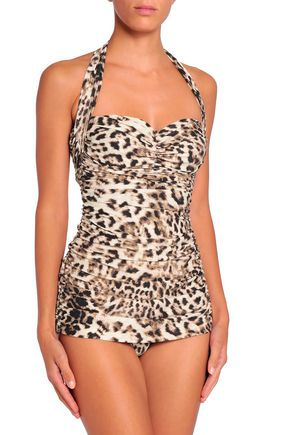 NORMA KAMALI Ruched leopard-print swimsuit