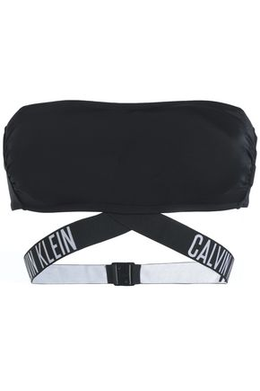 CALVIN KLEIN Jacquard-trimmed bandeau bikini top