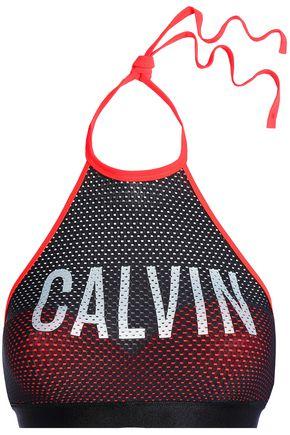CALVIN KLEIN Printed mesh halterneck bikini top