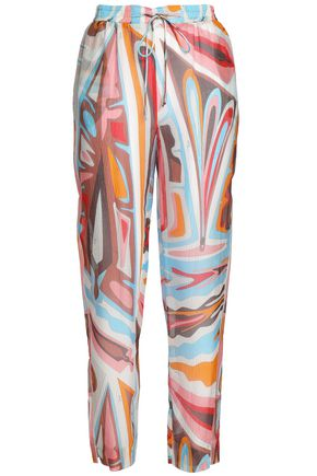 EMILIO PUCCI Printed silk-gauze tapered pants