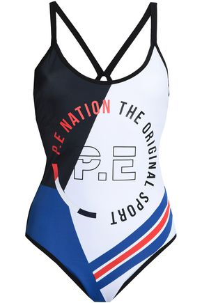 P.E NATION Open-back printed swimsuit