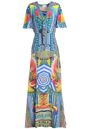 CAMILLA Embellished cutout printed silk-voile maxi dress