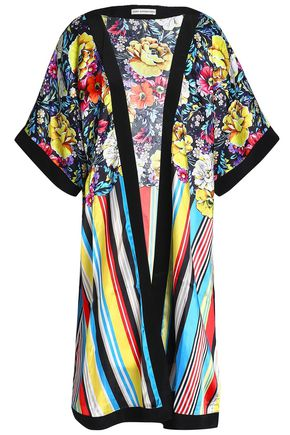 MARY KATRANTZOU Printed satin-twill coverup