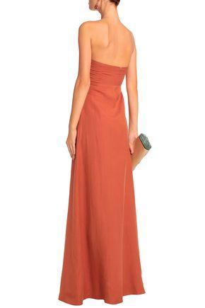 ADRIANA DEGREAS Cutout linen-blend maxi dress