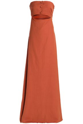 ADRIANA DEGREAS Cutout linen-blend maxi dress
