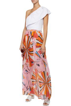 EMILIO PUCCI Printed silk-seersucker maxi skirt