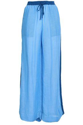 DIANE VON FURSTENBERG Two-tone linen-blend wide-leg pants