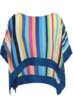 DIANE VON FURSTENBERG Oversized striped linen-blend top