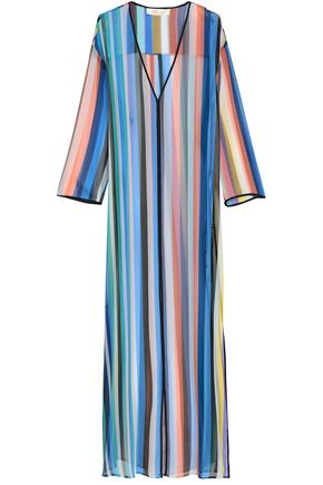 DIANE VON FURSTENBERG Striped silk-geogette maxi dress
