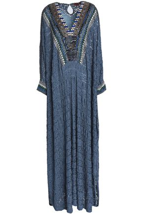 MISSONI Beaded metallic crochet-knit kaftan