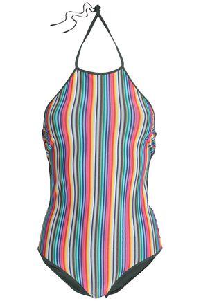 DIANE VON FURSTENBERG Striped halterneck swimsuit