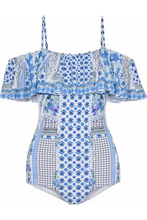 CAMILLA Salvador Summer cold-shoulder embellished printed swimsuit