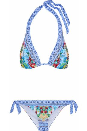 CAMILLA Masking Madness embellished printed triangle bikini