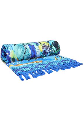 CAMILLA Printed cotton-terry beach towel