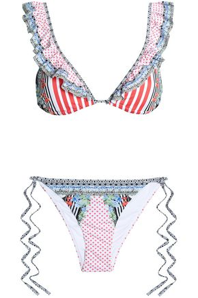 CAMILLA Ruffled printed triangle bikini
