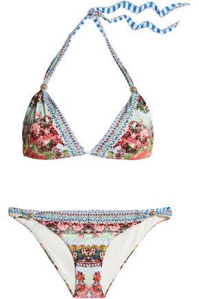 CAMILLA Embellished printed triangle bikini