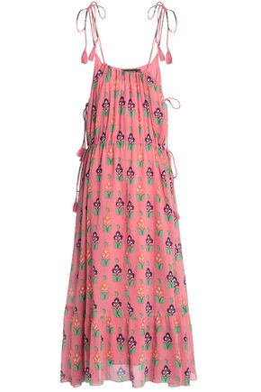 ANTIK BATIK Tasseled floral-print cotton-gauze maxi dress