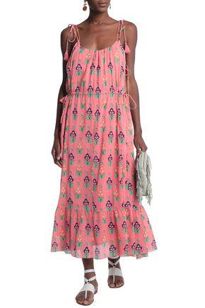 ANTIK BATIK Tasseled floral-print cotton-gauze maxi dress
