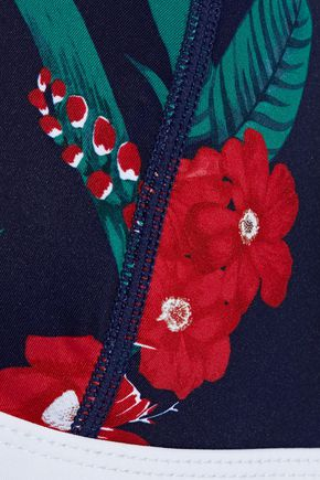 DUSKII Maui floral-print neoprene triangle bikini top