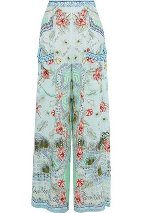 CAMILLA Shades Of Rio embellished printed silk crepe de chine wide-leg pants