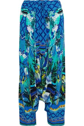 CAMILLA Amazon Azure embellished cutout silk crepe de chine wide-leg pants