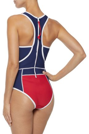 DUSKII Cutout printed neoprene swimsuit