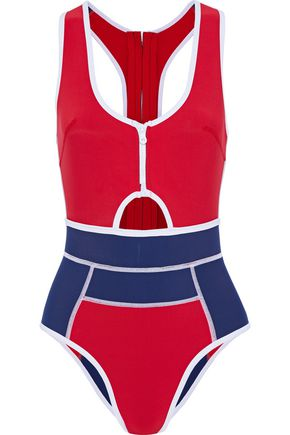 DUSKII Kailua cutout two-tone neoprene swimsuit