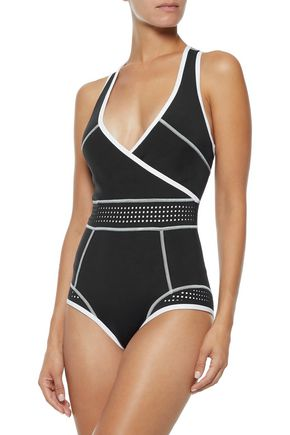 DUSKII Wrap-effect perforated neoprene swimsuit