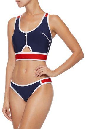 603c69f72bbe6 DUSKII Kailua cutout two-tone stretch-neoprene bikini top