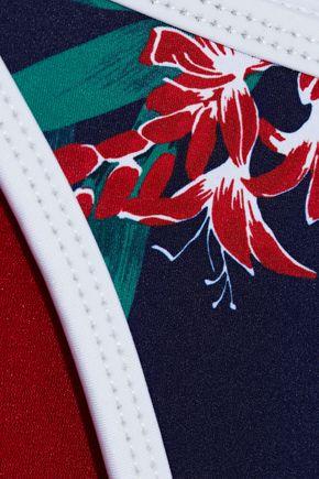 DUSKII Maui floral-print neoprene low-rise bikini briefs