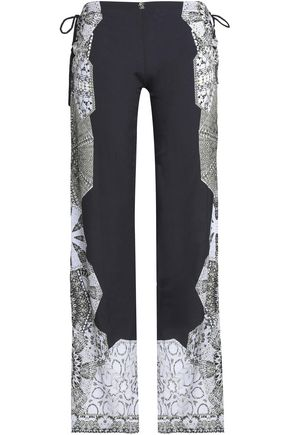 ROBERTO CAVALLI Tasseled printed satin wide-leg pants