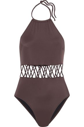SOLID & STRIPED The Barbara lattice-trimmed halterneck swimsuit