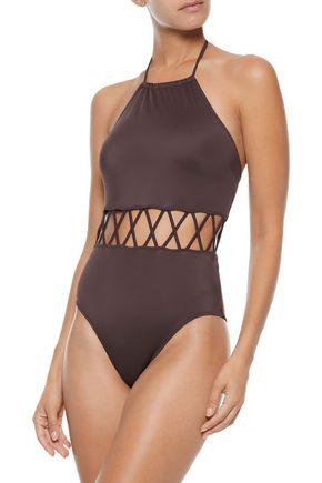 SOLID & STRIPED The Barbara lattice-trimmed halterneck swimsuit