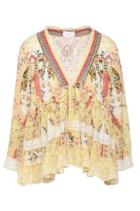 CAMILLA Embellished broderie anglaise-trimmed printed gauze blouse